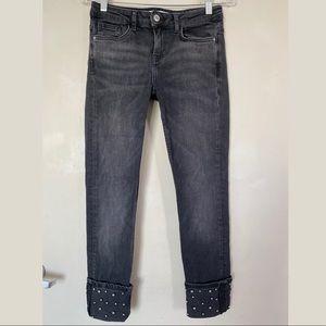 Zara Black 1975 Denim Metal Ball Studded Cuff Skinny Leg Jeans